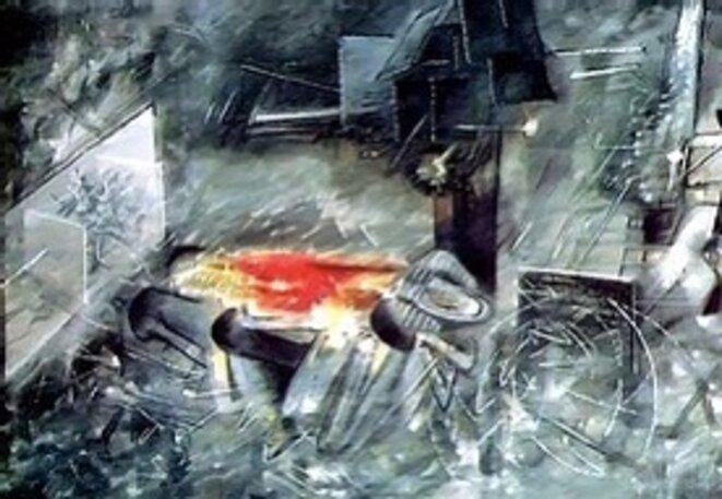 """Roberto Matta, La question, 1958, fait référence à la Question d'Henris Alleg. Il réalisera également en 1960 """"Le suplice de Djamila"""""""