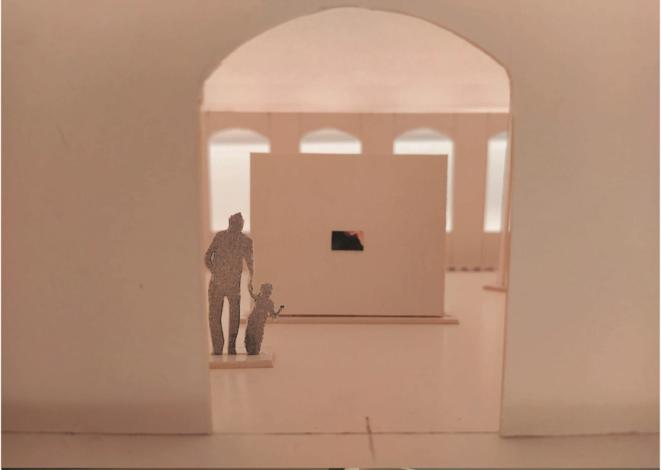 Photo d'une maquette, proposition de scénographie présentée par Nawel Louerrad et Fella Tamzali.