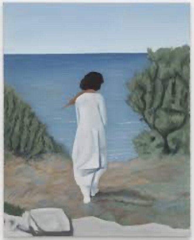 By the sea (After Assia Djebar).Johannes Sivertsen, 2020.oil on canvas.92X73 cm