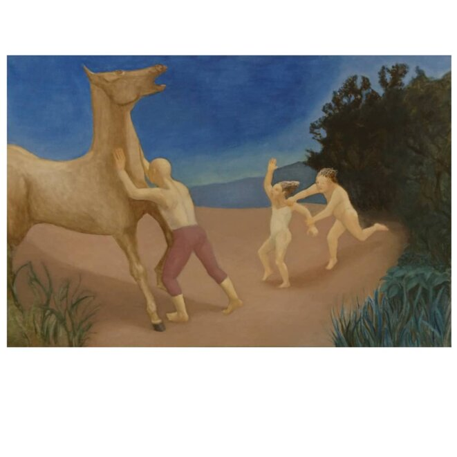 Untitled. Fella Tamzali Tahari 2020; huile sur toile. 215X144 cm