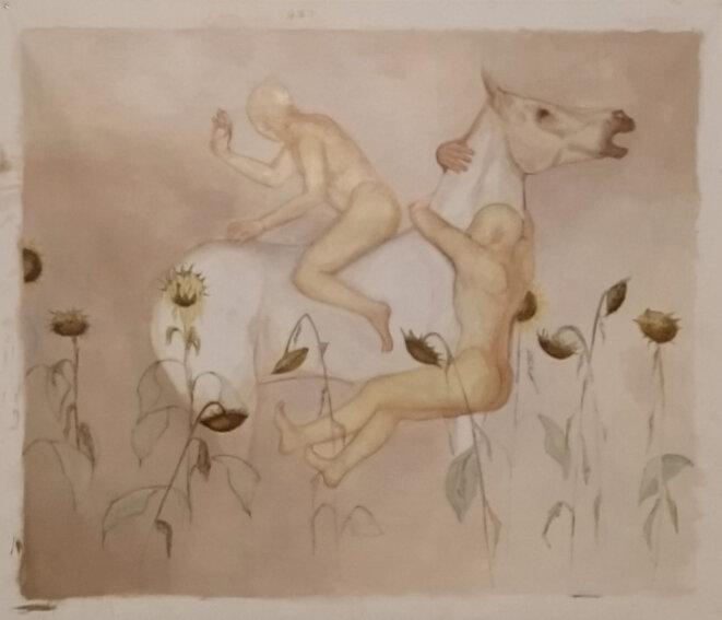 Untitled. Fella Tamzali Tahari 2020; huile sur toile. 187X160 cm