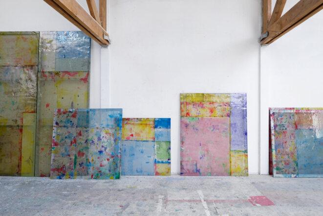 Louis Cane, « Peintures vraiment abstraites », vue de stockage, © galerie Ceysson & Bénétière