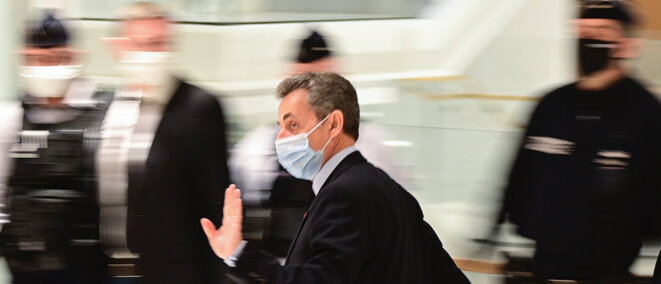 Nicolas Sarkozy on December 8th 2020 as he arrived at court in Paris to hear the prosecution in his corruption trial sum up its case. © Martin Bureau/AFP