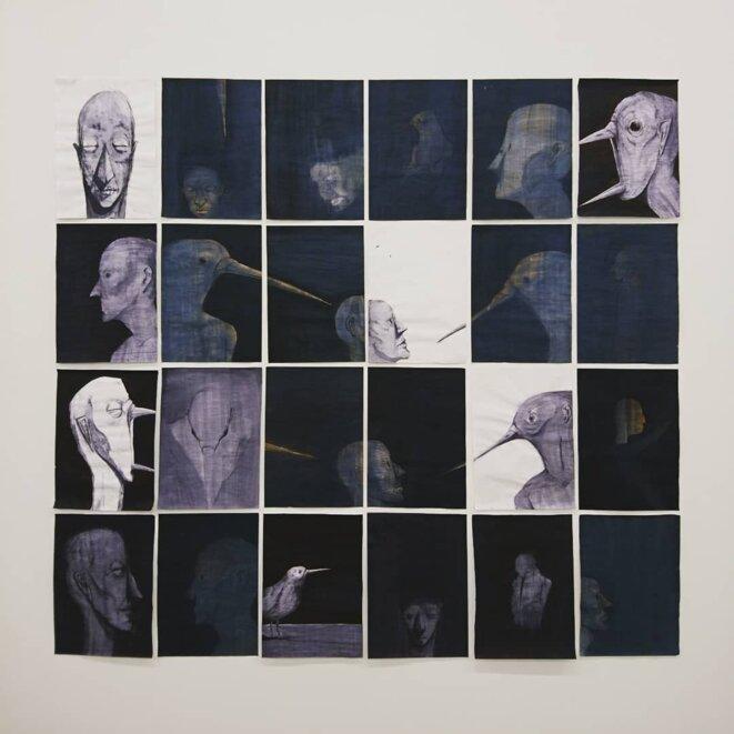 Square. Nawel Louerrad. 2020.encre et papier. 186x173 cm