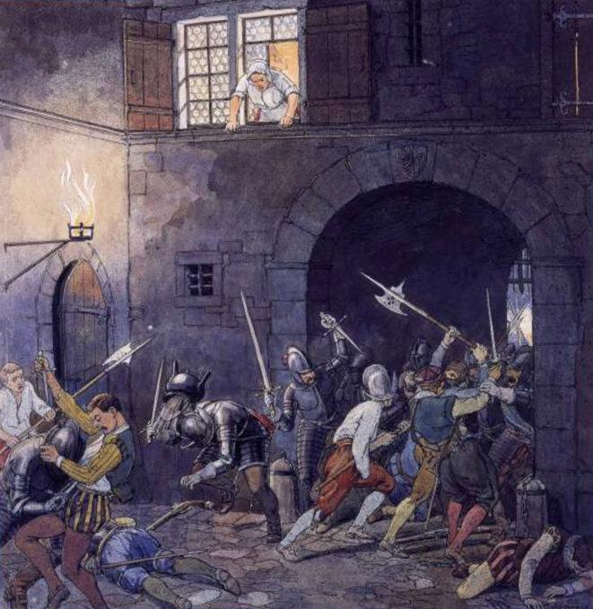 Scène de guérilla urbaine en l'an 1602 (Illustration d'Elzingre)