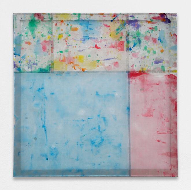 Louis Cane, « Peinture vraiment abstraite », résine sur grillage, 140 x 140 cm, 2019, © galerie Ceysson & Bénétière