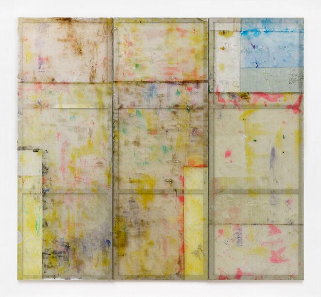 Louis Cane, « Peinture vraiment abstraite », résine sur grillage, 310 x 336 cm, 2017, © galerie Ceysson & Bénétière