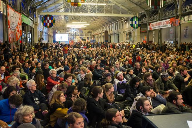 Assemblée de la zone d'action climat à Paris, pendant la COP21, en 2015. © Jean de Peña, à-vif[s]