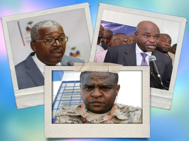 Joseph Pierre Richard Duplan, Fednel Monchéry et Jimmy Cherizier, organisateurs du massacre de La Saline. © AyiboPost