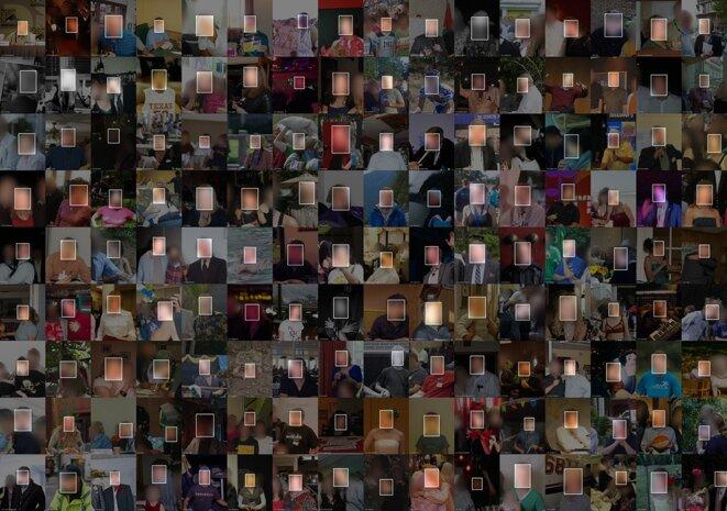 Un collage d'images de l'ensemble de données MegaFace, qui a capté des photos en ligne. Les images sont masquées pour protéger la confidentialité des personnes. Crédit: Adam Harvey / megapixels.cc basé sur l'ensemble de données MegaFace par Ira Kemelmacher-Shlizerman et al. basé sur l'ensemble de données Yahoo Flickr Creative Commons 100 millions et sous licence Creative Commons Attribution (CC BY)
