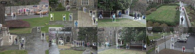 Une étude controversée menée par des chercheurs de l'Université Duke a publié plus de 2 millions d'images vidéo d'étudiants capturées par des caméras sur le campus. L'artiste Adam Harvey a modifié les images dans le cadre de son projet Megapixels.Crédit: Visualisation d'images par Adam Harvey (megapixels.cc) basé sur l'ensemble de données Duke MTMC de Ristani et al. initialement sous licence Open Data Commons Attribution License (2018).