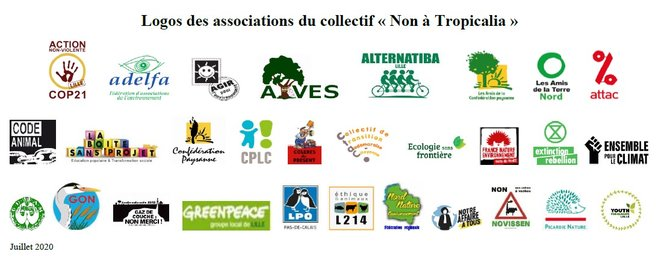 "Logos des associations du Collectif ""Non à Tropicalia'"