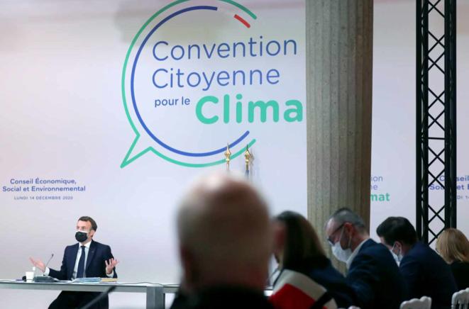 Emmanuel Macron devant la convention citoyenne pour le climat, le 14 décembre. © Thibault Camus/AFP