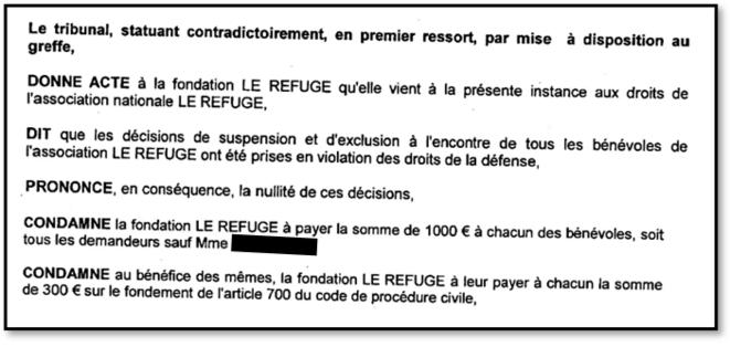Extrait du jugement du tribunal judiciaire d'Avignon du 2 décembre 2020.