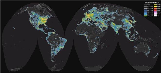 Atlas mondial de la luminosité artificielle du ciel nocturne © Atlas mondial de la luminosité artificielle du ciel nocturne