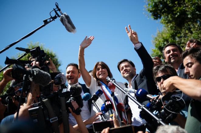 Michèle Rubirola et Benoît Payan, fêtant la victoire, le 4 juillet à Marseille. © CLEMENT MAHOUDEAU / AFP