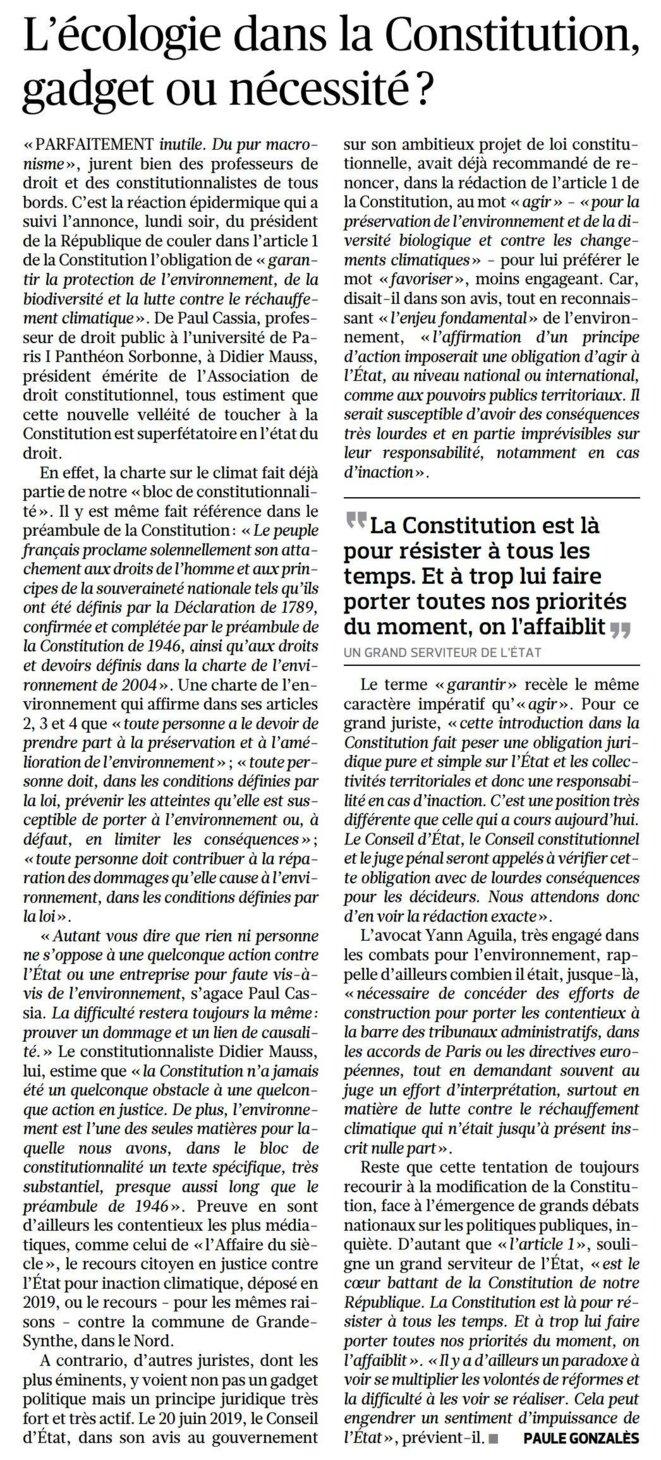 Le Figaro, 16 décembre 2020