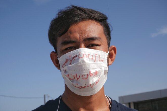 « Nous voulons être libres. Ici ce n'est pas l'Europe pour nous ». Muhammad-Mahdi, journaliste afghan de 21 ans à Lesbos depuis 9 mois. © Lucas DALLANT