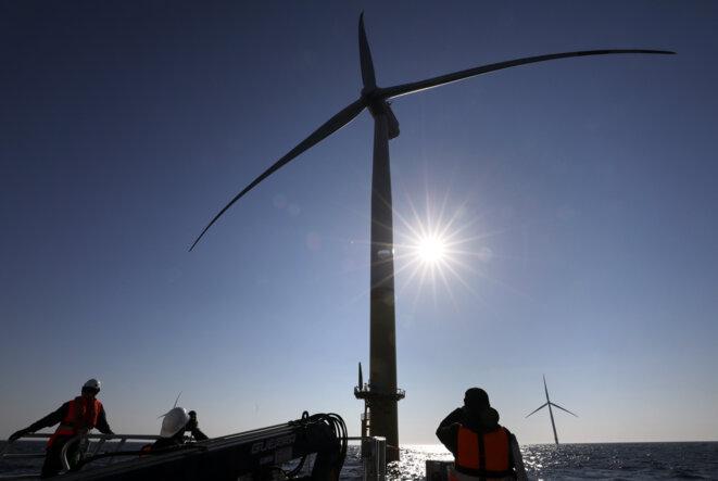 Un projet d'éoliennes offshore en mer baltique. © Bernd Wustneck / DPA / DPA PICTURE-ALLIANCE via AFP