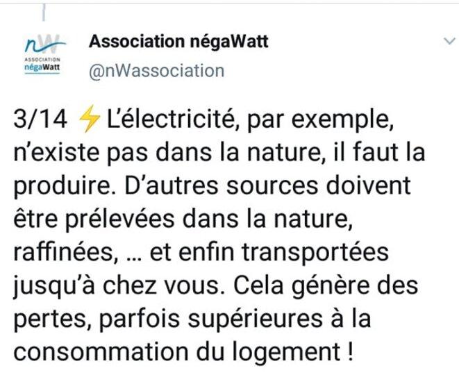 Tweet de l'association Negawatt du 16/12/2020 à 15h50