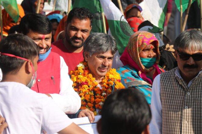 Rajagopal (au centre) au départ de la marche ce 17 décembre © Ekta Parishad