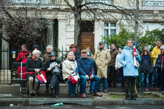 Des supporteurs de François Fillon lors d'un rassemblement au Trocadéro, le 5 mars 2017. © Simon Guillemin / Hans Lucas via AFP