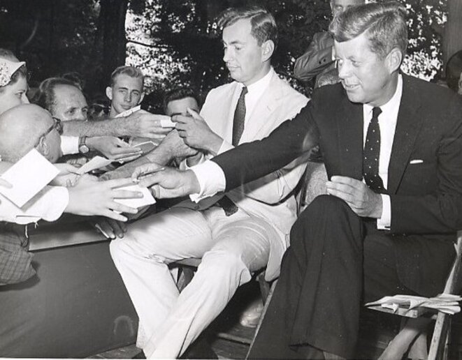 1960: Vidal ran for Congress in the The 29th Congressional District in upstate New York. He's pictured on the campaign trail with presidential hopeful John F Kennedy. Though Vidal lost, he garnered more votes than any Democrat in the district for the previous 50 years. © AP