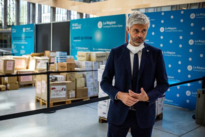Laurent Wauquiez en avril 2020, à Lyon. © Nicolas Liponne / Hans Lucas via AFP