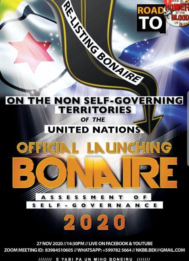 Ré-inscription de Bonaire sur la liste des Territoires Non-Autonomes de l'ONU. Affiche de laCampagne 2020