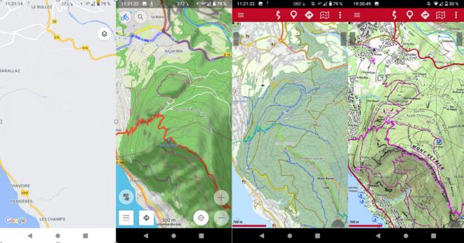 Comparaison des fonds de carte Google maps, OsmAnd, OpenAndroMaps et IGN.