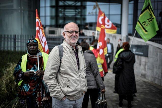 Claude Lévy, figure de la CGT parisienne, en octobre 2019. © Stéphane de Sakutin / AFP