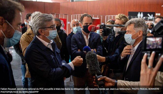 À gauche, Jean-Luc Mélenchon, à droite, Fabien Roussel © Pascal Bonnierre