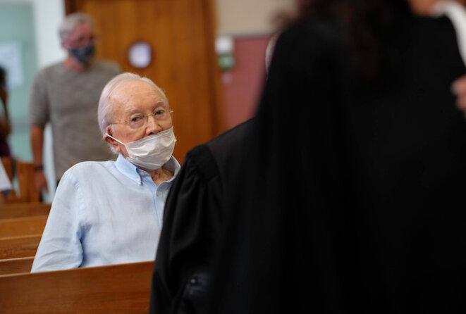 Gaston Flosse, 89 ans, au tribunal, à Tahiti, le 10/12/20, condamné dans une affaire de détournement de fonds.
