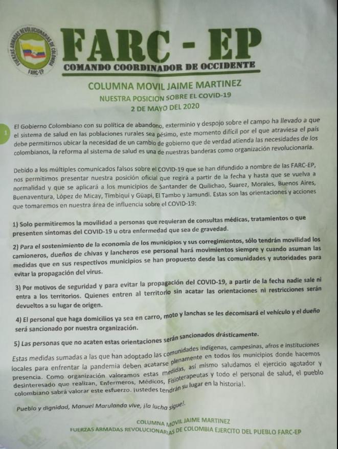 Panfleto con restricciones en municipios del Cauca firmado por la Columna Jaime Martínez, grupo disidente de las FARC-EP
