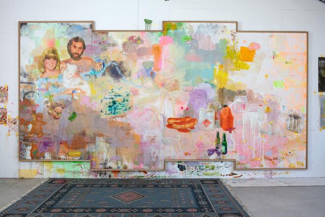 Ida Tursic & Wilfried Mille, La peinture aux radis, 2020, huile sur panneaux de bois et cadre de chêne, 317 x 619 cm. © Ida Tursic & Wilfried Mille