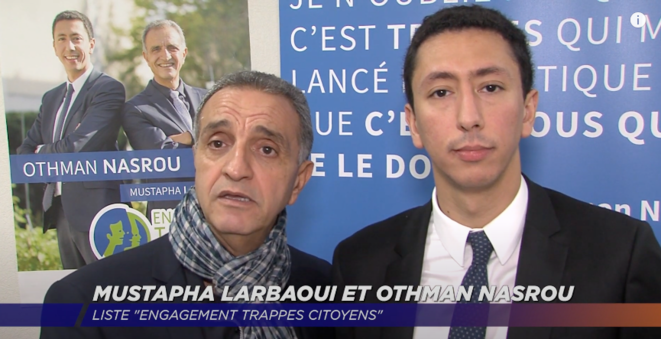 Mustapha Larbaoui et Othman Nasrou apparaissaient souvent à deux, comme ici sur la chaîne locale TV78. © Capture d'écran Youtube.