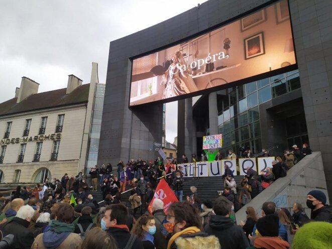 Manifestation à Paris des professionnels du spectacle, 15 décembre 2020 © Hugo Robert (c) https://twitter.com/hrobert_hugo
