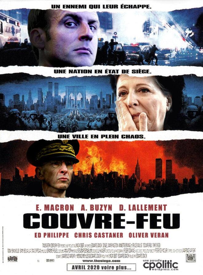 """Affiche parodique """"Couvre-feu"""" trouvée sur Internet lors du 1er confinement 2020. © Cpolitic"""