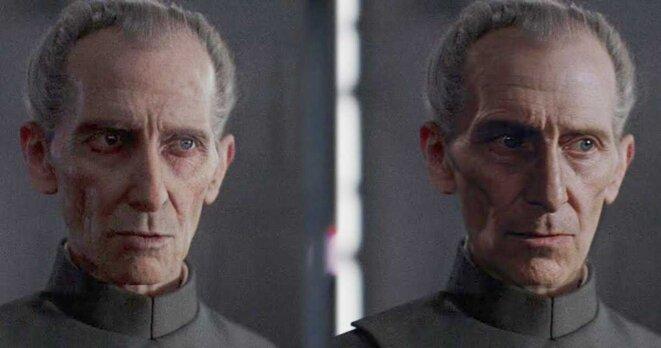 Peter Cushing, mort en 1994, apparait pourtant dans Rogue One en 2016. Les effets spéciaux utilisés à l'époque déçoivent les fans. La version deepfakes (droite) se rapproche davantage de l'acteur.