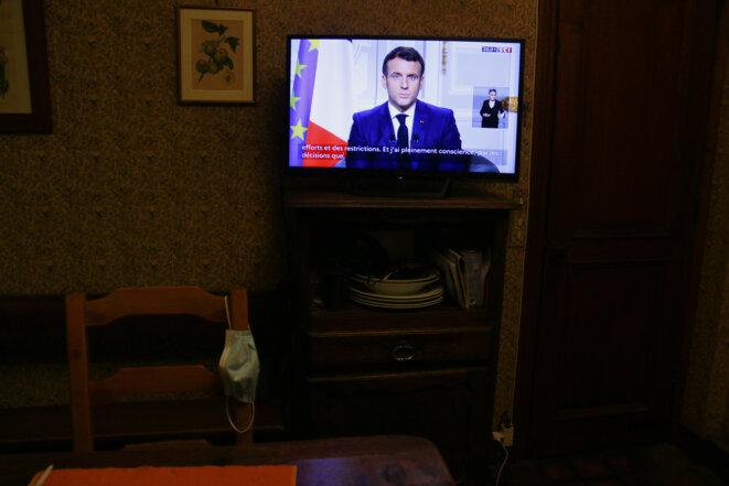 Les voeux d'Emmanuel Macron, le 31 décembre. © Quentin De Groeve/Hans Lucas via AFP