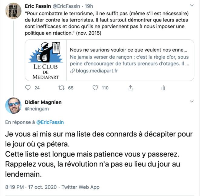Tweet de Didier Magnien en réponse à Eric Fassin, 17 octobre 2020 © Capture d'écran
