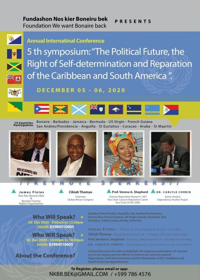 """Affiche du Vème Symposium International de Bonaire : """"Le Droit à l'Auto-Détermination et aux Réparations dans la Caraïbe et l'Amérique du Sud ». Les 5 et 6 décembre 2020."""