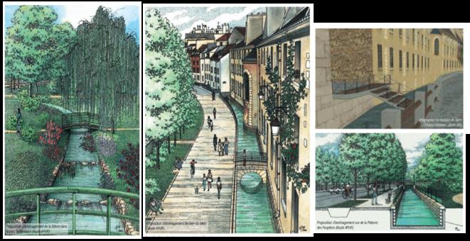 Illustrations d'avant-projet pour la réouverture de la Bièvre : fraîcheur, promenade, vélo… le « package » de la nature en ville en cœur de Métropole © Atelier Parisien d'Urbanisme (APUR)