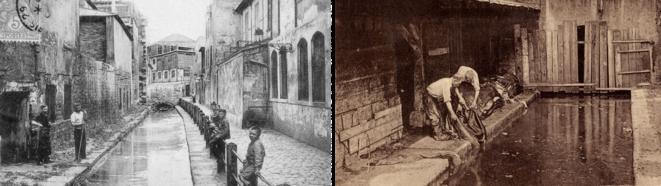Photographies de la Bièvre à Paris et des activités polluantes autour de 1900