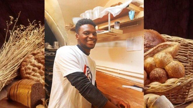 Laye Fodé Traoréiné, apprenti boulanger à la Huche à pain à Besançon, risque d'être expulsé du territoire français. © La Huche à pain