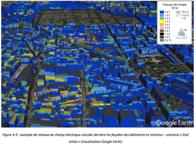 août 2020 niveaux de champ électrique calculés derrière les façades des bâtiments en intérieur © ANFR