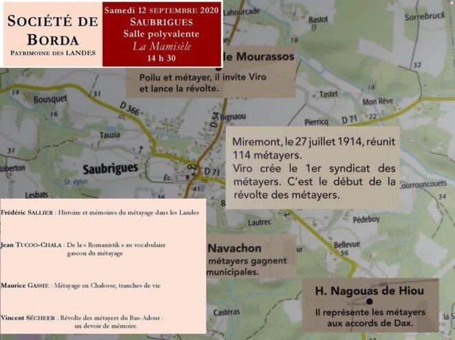 Conférence de la Société de Borda donnée le 12 septembre 2020 à Saubrigues