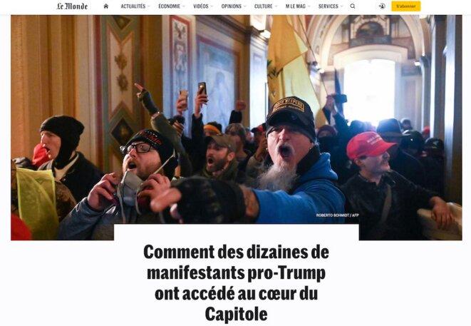 L'assaut du Capitole, photo Robert Schmidt/AFP, 06/01/2021.