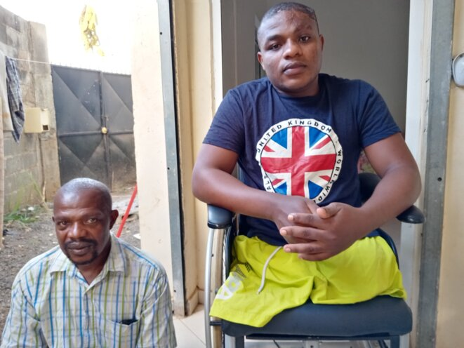 Having lost both legs when injured by a police boat while trying to get to Mayotte, Djassadi Farid now lives with the help of his father not far from the capital Mamoudzou. © JS