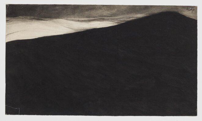 Léon Spilliaert (1881 - 1946) Paysage nocturne. Dune et mer déchainée 1900 Lavis d'encre et pinceau sur papier 15,4 x 26,8 cm © Bruxelles, Bibliothèque royale KBR – Cabinet des Estampes – S.V 81424